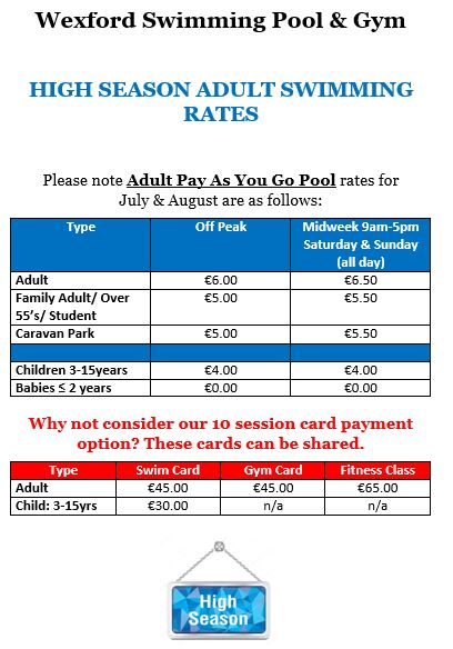 High Season Adult Payg Rates Wexford Swimming Pool