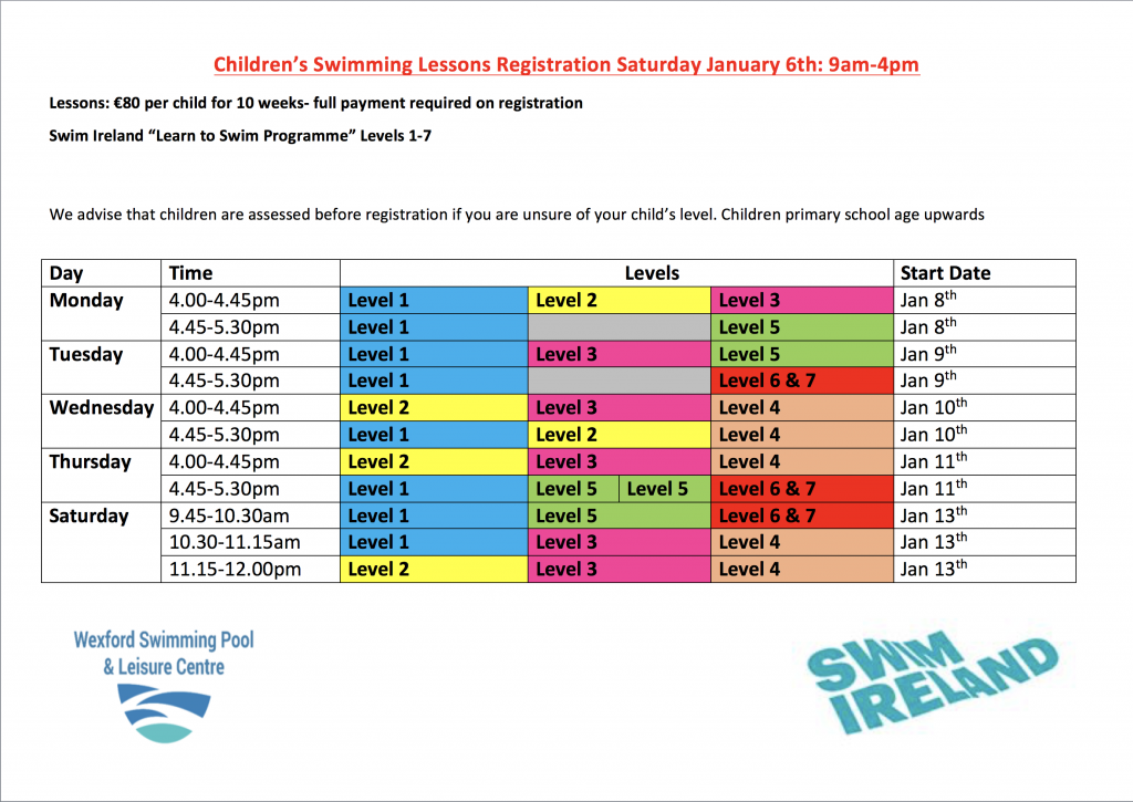 New Kids Swimming Lessons Wexford Swimming Pool