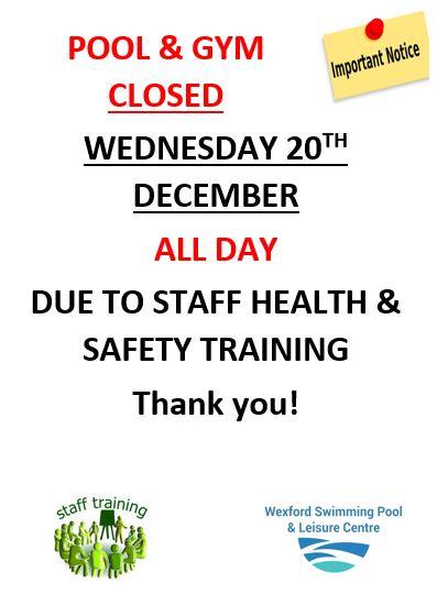 Pool Gym Closed Wed 20th Dec Wexford Swimming Pool